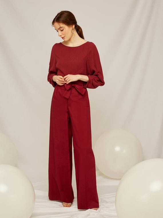 Caractere Abbigliamento > Pantaloni e jeans Marrone - Caractère Pantaloni palazzo con fusciacca in vita Donna Marrone
