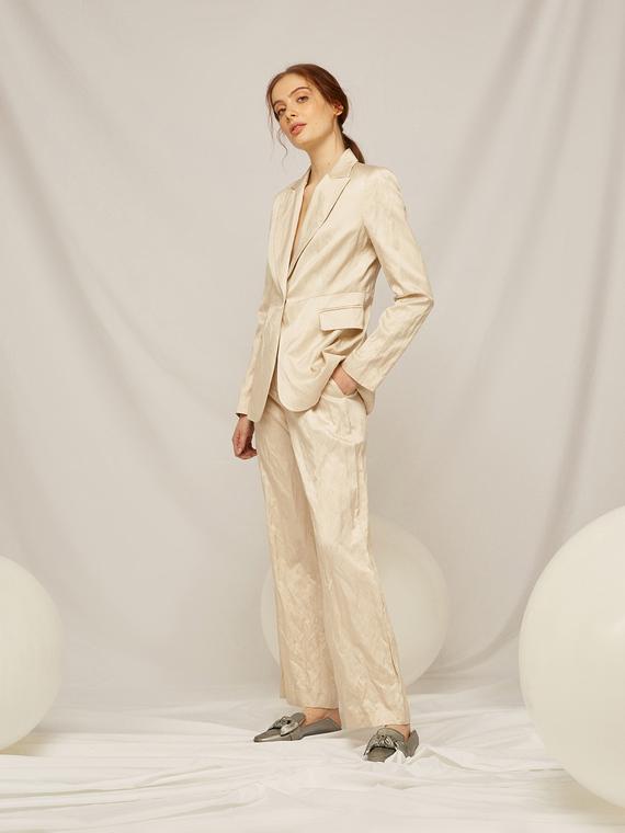 Caractere Abbigliamento > Pantaloni e jeans Beige - Caractère Pantaloni dritti in tessuto pregiato Donna Beige