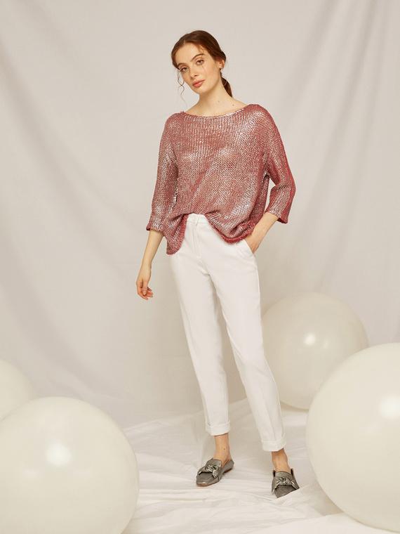 Caractere Abbigliamento > Pantaloni e jeans Bianco - Caractère Pantaloni dritti con risvolto Donna Bianco