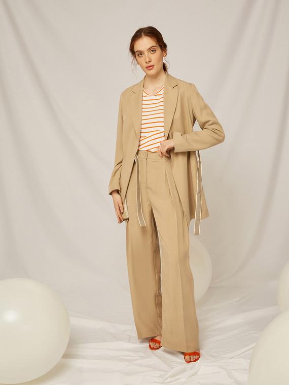 Caractere Abbigliamento > Pantaloni e jeans Beige - Caractère Pantaloni ampi in twill Donna Beige