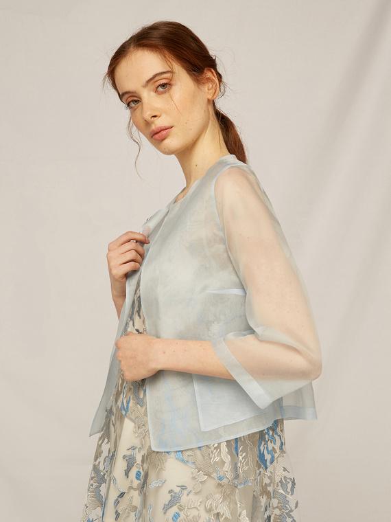 Caractere Cappotti e giacche > Giacche e blazer Blu - Caractère Giacca in organza di seta Donna Blu
