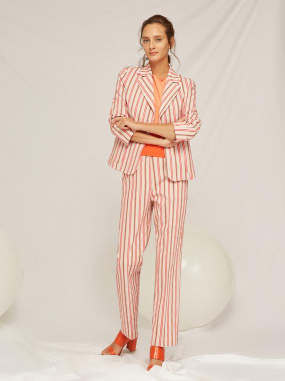 Caractere Cappotti e giacche > Giacche e blazer Arancione - Caractère Giacca in cotone a righe Donna Arancione