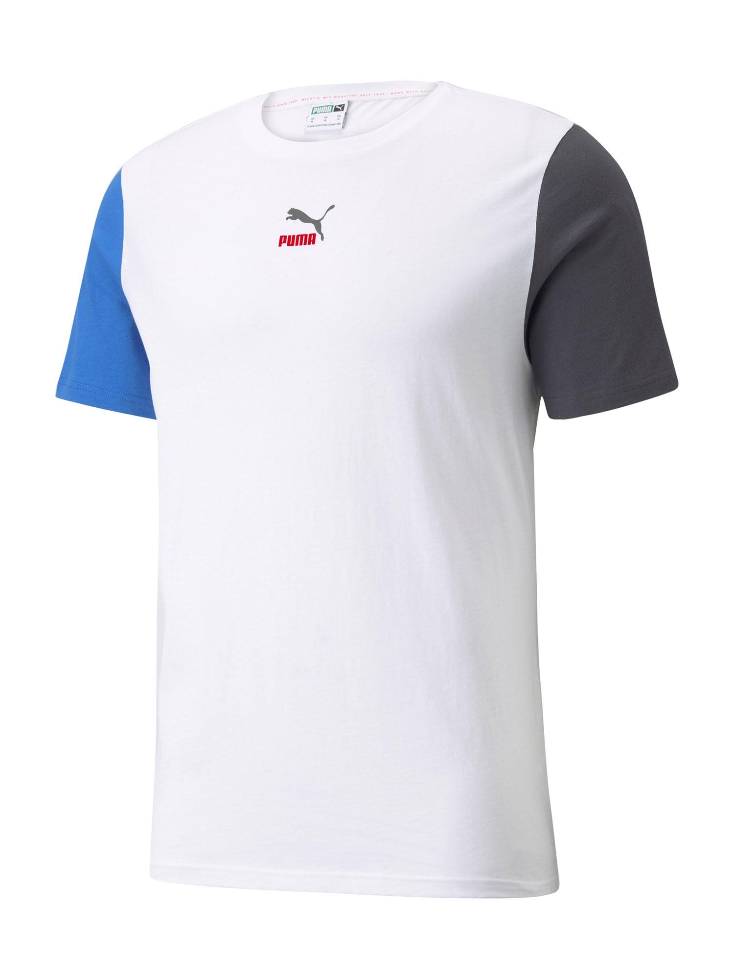 PUMA Maglietta  bianco / blu reale / blu notte / rosso fuoco / grigio fumo male shop the look