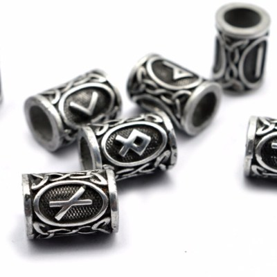 1pc Antique Viking Runes Beads Charms Findings for Bracelets for Pendant Necklace DIY for beard or hair Real Photoes