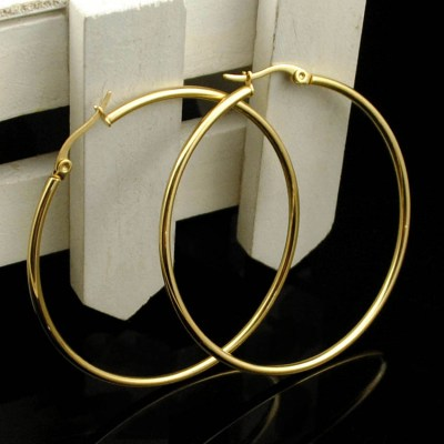 CHIMDOU Gold color Stainless Steel Earrings 2018 Women Small or Big Hoop Earrings Party Rock Gift, Two colors wholesale
