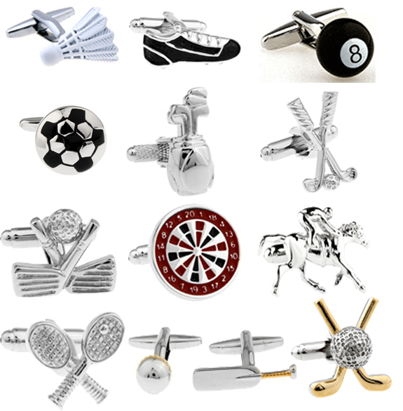 Free shipping Men's Cufflinks Wholesale Sport Series Rugby Golf Football Tennis Design Fashion Cuff Links For Men Copper Quality