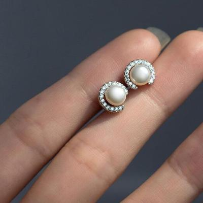 1pair 100% Real. 925 Sterling Silver Fine Jewelry White Freshwater pearl with half round cz stone set Stud earrings gtle1787