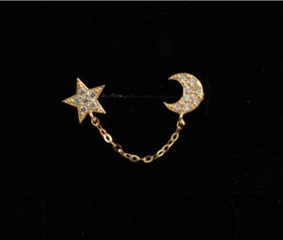 1pcs full rhinestone star and moon earring Two Ear Holes Connection Stud Earrings Double Ear Hole Chain Piece earring jewelry
