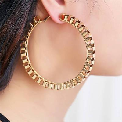 2018 New Fashion Big Circle Punk Hoop Earrings 7.5CM Diameter Gold/Sliver Plated For Women Party Wholesale Two Color Top Quality