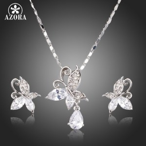 AZORA Cute Butterfly Clear Cubic Zirconia Tear Drop Pendant Necklace and Stud Earrings Jewelry Sets TG0141