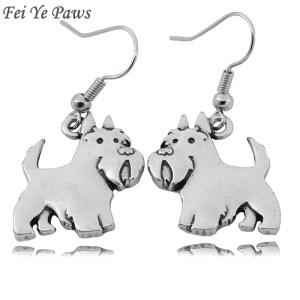 Fei Ye Paws Cute Scottish Terrier Dog Charms Drop Earrings Punk Animal Dangle Earrings Jewelry For Women Girls Pet Lover Jewelry