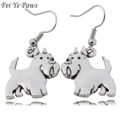 Fei Ye Paws Cute Scottish Terrier Dog Charms Drop Earrings Punk Animal Dangle Earrings Jewelry For Women Girls Pet Lover Jewelry