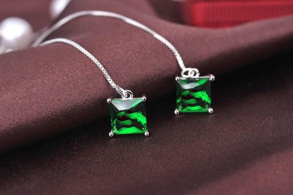 2017 Shiny Austrian Cystal Drop Earrings Simulated Pearl Jewelry Fashion silver Ear Wire Chain Long Earrings for Women