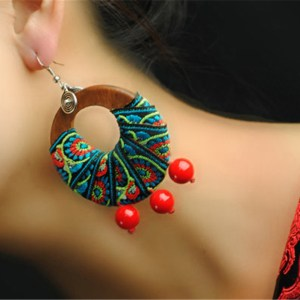 Dangle earrings accessories for women new drop earring wedding birthday gift special design 3 color wooden embroidery D082