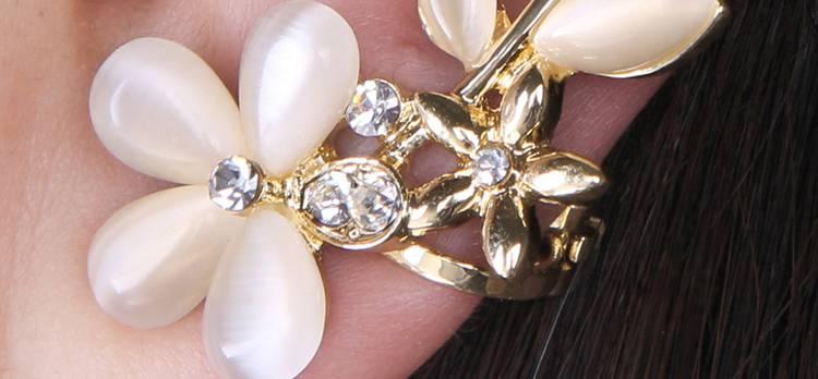 New 1pc Elegant Flower Shape Rhinestone Left Ear Cuff Clip Golden Earring Ear Stud