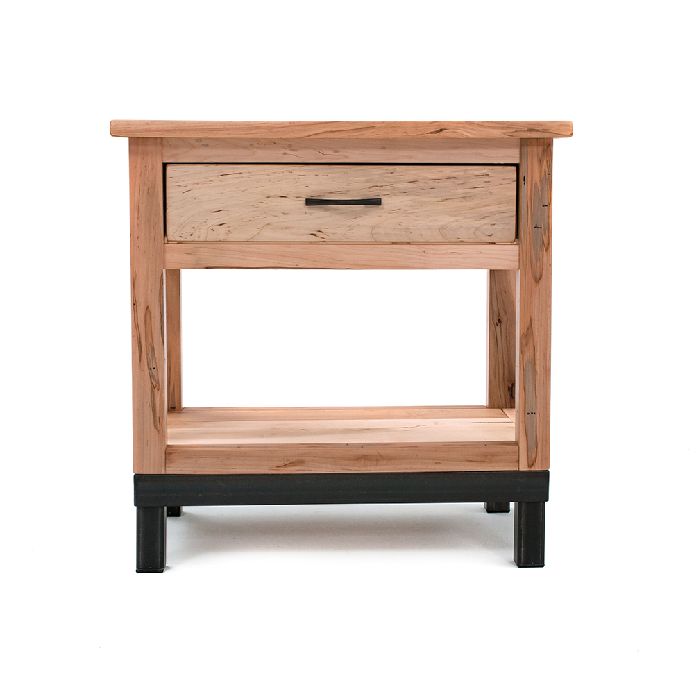 denver 1 drawer nightstand solid maple wood metal legs