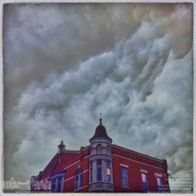 Storm clouds over the Holmes Hotel.