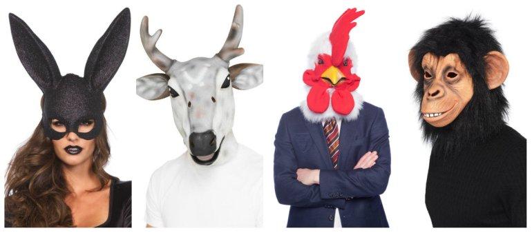 fastelavnsmaske dyremaske maske dyrehoved hestehoved maske chimpanse maske kanin maske til voksne hane maske til voksne - Maske til fastelavn eller maskebal