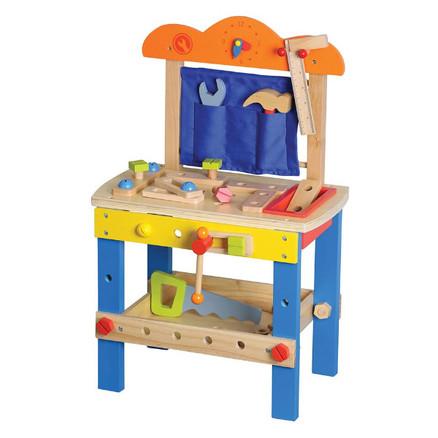 arbejdsbænk til børn børneværksted værktøjsbænk til børn blå gul toys lelin redskabsbænk arbejdsbænk gave til 2 årig dreng gave til 3 årig dreng