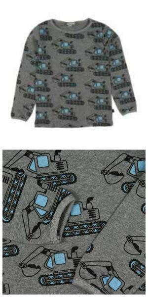 småfolk bluse med gravko motiv gråmeleret gravemaskine bluse tøj med gravko entreprenørmaskiner