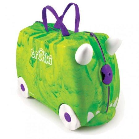 Dinosaurus kuffert til børn trunki kuffert med dinosaurus grøn kuffert til børn børnekuffert med dinosaurus print ride on kuffert