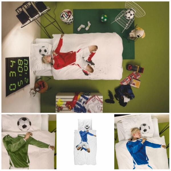 snurk sengetøj snurk fodbold sengetøj snurk fodbold rød snurk sengetøj blå snurk voksendyne sengetøj grøn fodbold tema indretning børneværelse til fodbolddreng