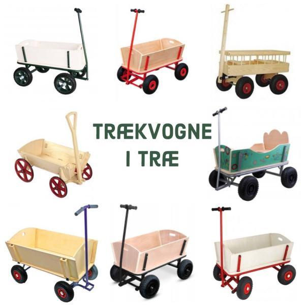trækvogn i træ klassisk trækvogn i træ med gummihjul trækvogn til 2 børn trækvogn xl