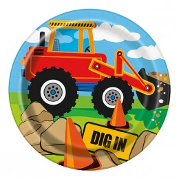 paptallerken byggeplads tema børnefødselsdag gravko børnefødselsdag traktor fødselsdag