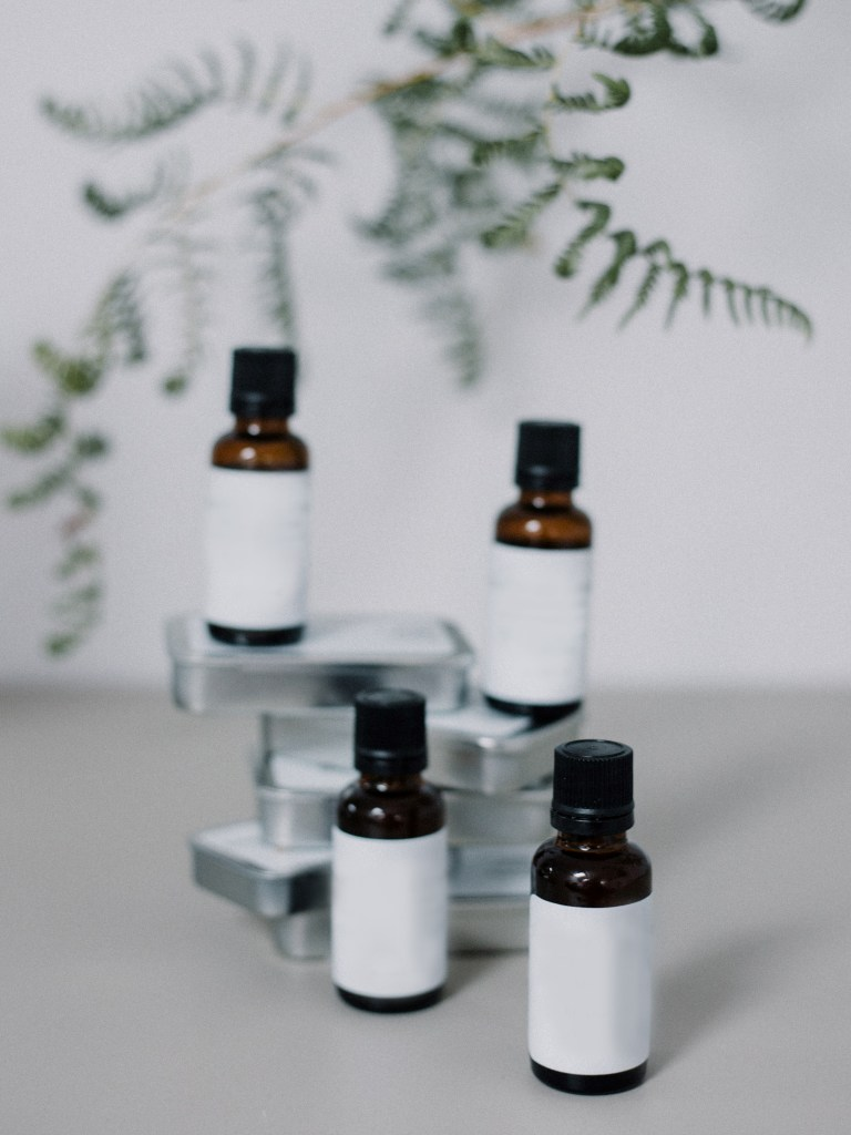 Small amber bottles with essential oils