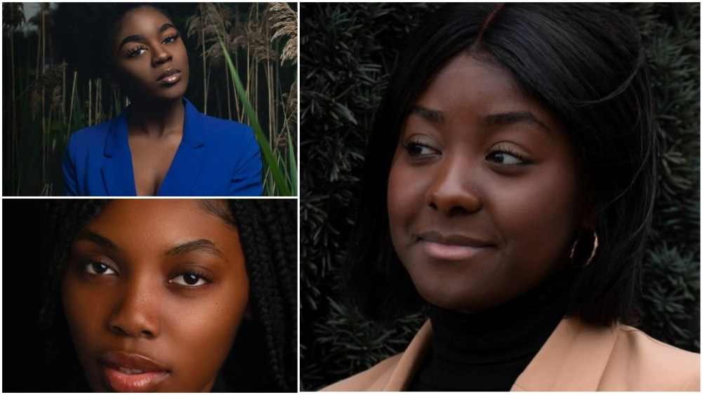 Faces of three chocolate skinned woman in diverse hues.