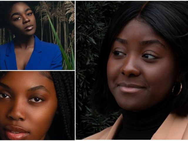 Faces of chocolate colored skinned woman that includes brown and dark skin