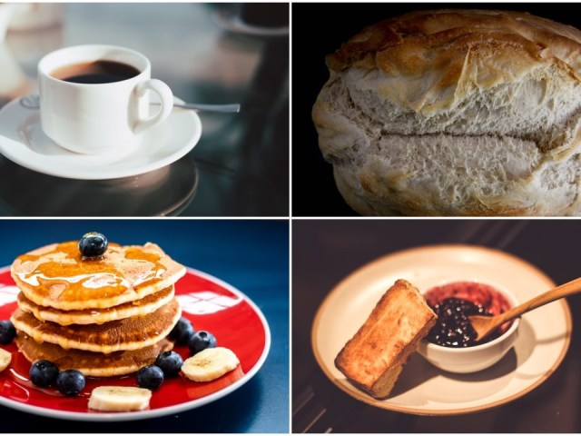 Four items are pictured in a collage.  These include a cup filled with coffee, a biscuit, a stack of pancakes with syrup, and toasted bread with a bowl of jam.