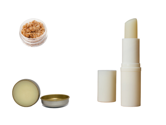 A collage that includes lip balm in a stick and lip balm in a tin.  A lip scrub is also shown.