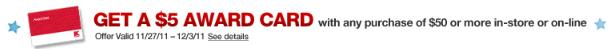 Kmart: Get a $5 Award Card With Any Purchase Of $50 Or More!!!