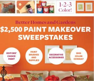 $2,500 Better Homes and Gardens Paint Sweepstakes!
