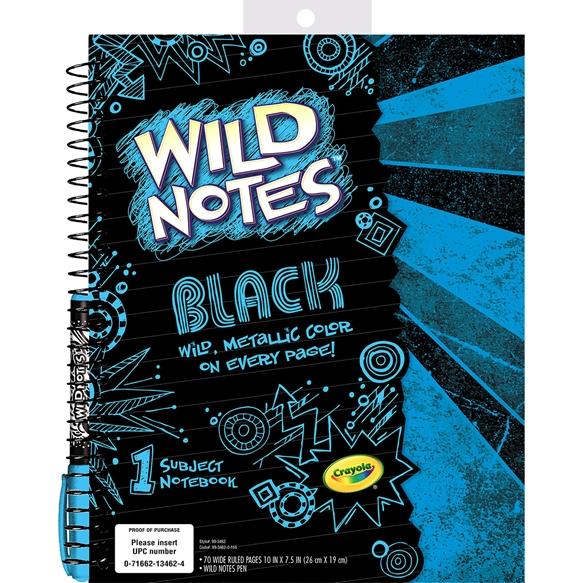 Crayola Wild Notes black Notebook