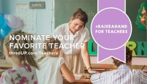 thredUP's Raise A Hand For Teachers! #RaiseAHand