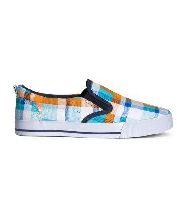 plaid slip on shoes