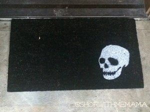 Creepy White Skull Doormat
