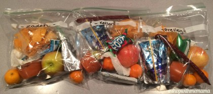 Snack bags for kids going on a road trip