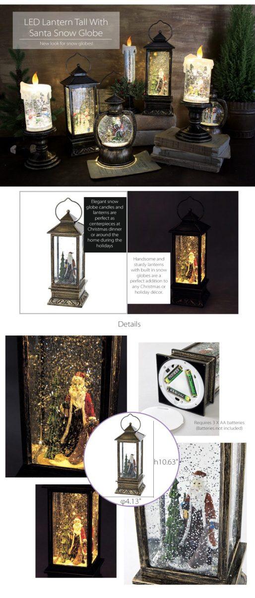 LED Lantern Tall with Santa Snow Globe