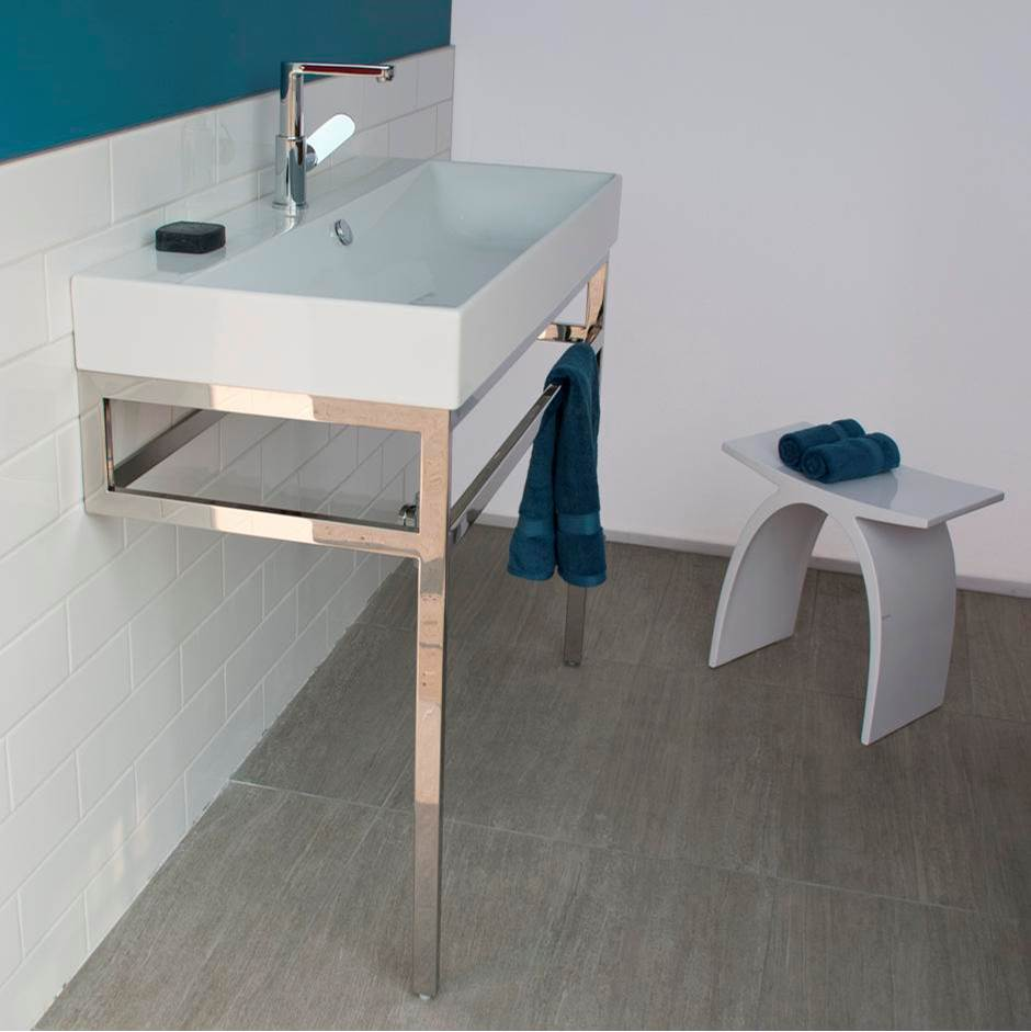 floor standing metal console stand with a towel bar bathroom sink