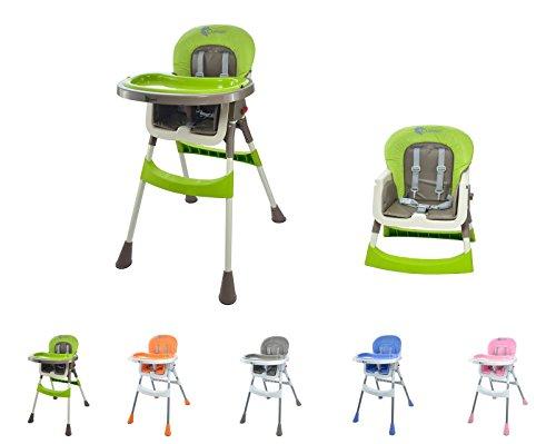 """Clamaro """"babyHIGH"""" Kinder Baby Hochstuhl mit Sicherheitsgurt und 2in1 Tablett, Babyhochstuhl klappbar, gepolstert, mit abwischbaren Sitzpostern und mit rutschfesten Standfüßen, rosa"""