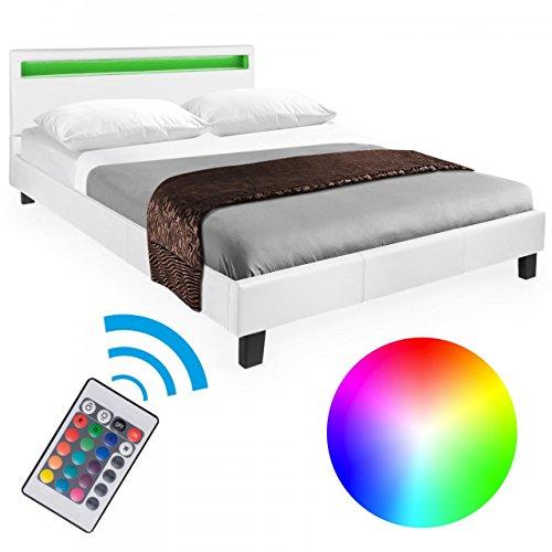 Homelux LED Bett Polsterbett Doppelbett Kunstlederbett Bettgestell Bettrahmen 140 x 200 cm Weiss