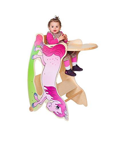 TRIHORSE ® Baby Kinderhochstuhl 3in1 ROSA Schaukelpferd, Spieltisch und Hochstuhl mit Tischplatte