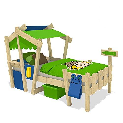 WICKEY Kinderbett CrAzY Candy Jugendbett 90x200cm mit Lattenboden, blau-apfelgrün