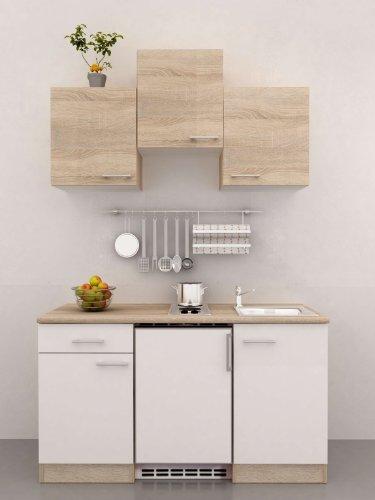 Singleküche 150 cm breit Weiß Sonoma Eiche mit Geräten - Salerno