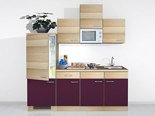 Singleküche 210 cm Aubergine Akazie mit Kochplatte - Zafia