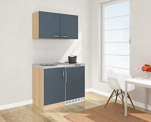 respekta Mini Küche Singleküche 100 cm inkl. Oberschrank Eiche Sägerau Nachbildung Front grau MK 100 ESGOS