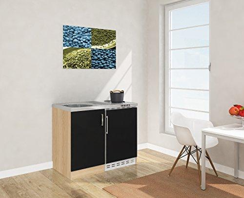 respekta Mini Küche Singleküche 100cm Eiche Sägerau Nachbildung Front schwarz MK 100 ESS